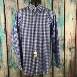"Club Room Button Down Blue Plaid 15 1/2"" 34/35"